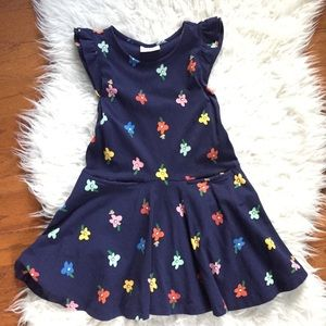 Hanna Navy Floral Print Ruffle Sleeve Dress 110